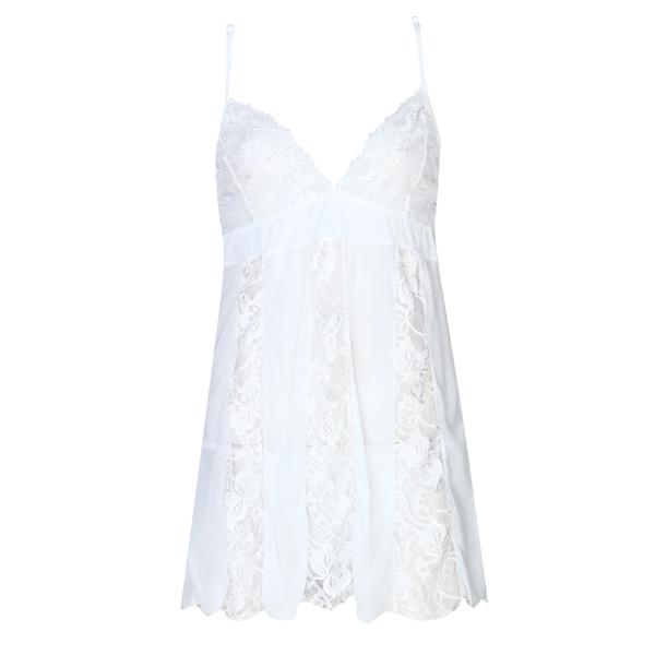 لباس خواب توری پشت گیپور زنانه سفید