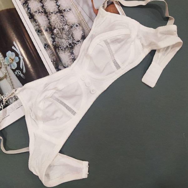 لباس زیر زنانه نخی راحتی مدل سه دکمه سفید