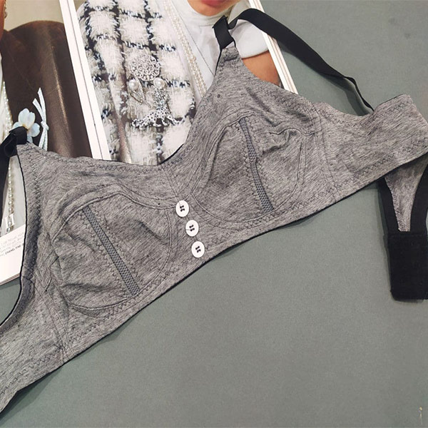 لباس زیر زنانه نخی راحتی مدل سه دکمه طوسی