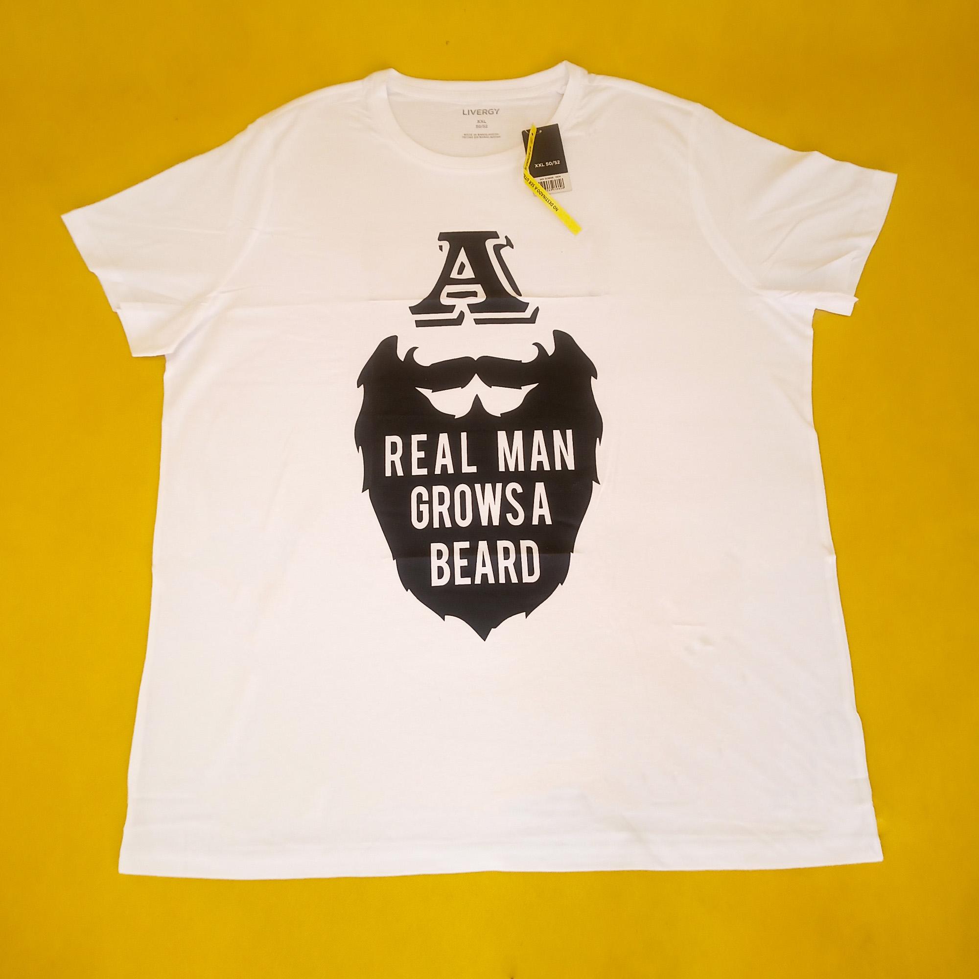 تیشرت نخی مردانه لیورجی چاپ دار کد 40 سفید
