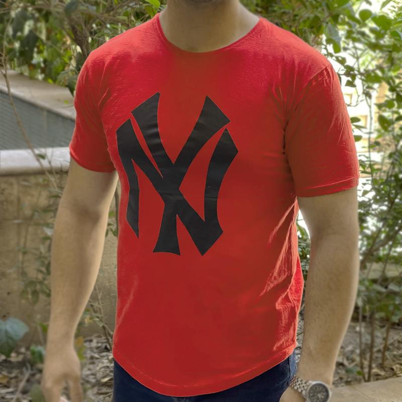 تیشرت آستین کوتاه مردانه نخی NY قرمز
